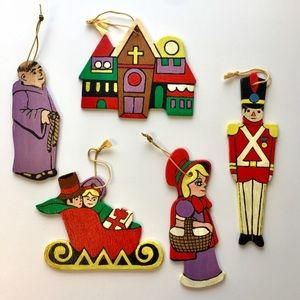"Hand Painted Wood Christmas Ornaments ""Church"" Lot"